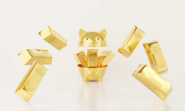 3d open piggy bank with metal gold bar.