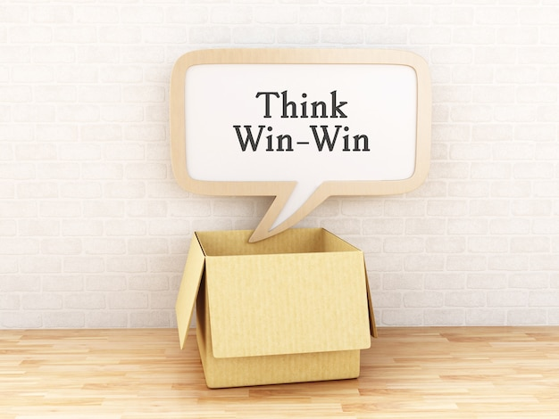 3d opened box and speech bubble with think win-win