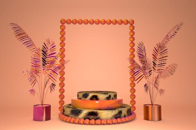 3d 오렌지와 표범 인쇄 받침대, 열대 야자수 잎으로 표시합니다. 동물 프린트가있는 여름 단계 연단. 미용 제품에 대 한 배경, 추상 유행 3d 렌더링 그림
