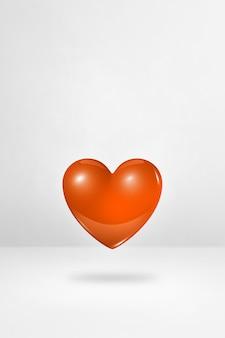 3d 오렌지 심장 흰색 스튜디오 배경에 고립. 3d 일러스트레이션