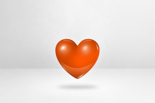 흰색 스튜디오 배경에 고립 된 3d 오렌지 심장. 3d 일러스트레이션