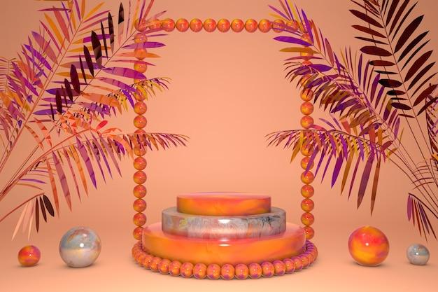 3d 오렌지 대리석 받침대, 열대 여름 야자수 잎으로 표시됩니다. 단계 연단. 화장품에 대 한 크리 에이 티브 밝은 배경, 추상 유행 3d 렌더링 그림