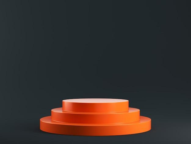 3d orange podium on black background scene