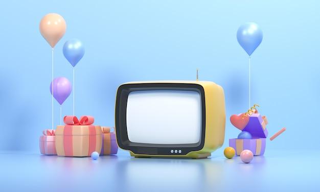3d 주황색 복고풍 텔레비전과 파란색 배경에 선물 선물, 빈티지 오래된 tv 수신기, 소셜 미디어 필터 사진. 3d 렌더링 그림