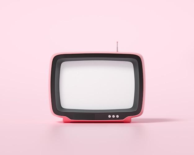 3d оранжевое ретро телевидение на розовом фоне, старинный старый тв-приемник, фото фильтра социальных сетей. 3d визуализация иллюстрации