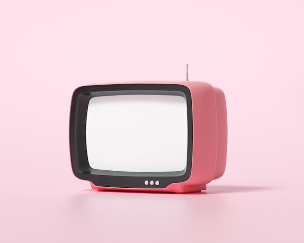 분홍색 배경의 3d 주황색 복고풍 텔레비전, 빈티지 오래된 tv 수신기, 소셜 미디어 필터 사진. 3d 렌더링 그림
