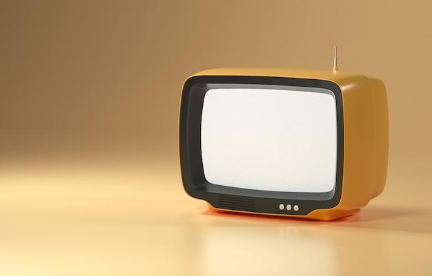 노란색 배경에 3d 주황색 복고풍 텔레비전, 빈티지 오래된 tv 수신기, 소셜 미디어 필터 사진. 3d 렌더링 그림