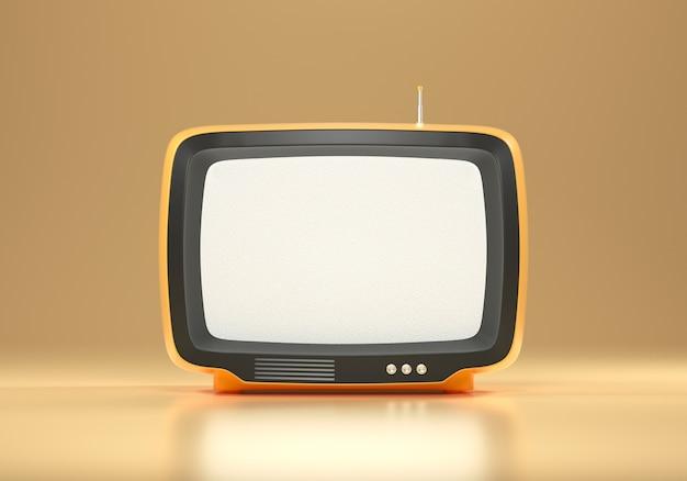 3d оранжевое ретро телевидение на желтом фоне, старинный старый тв-приемник, фото фильтра социальных сетей. 3d визуализация иллюстрации