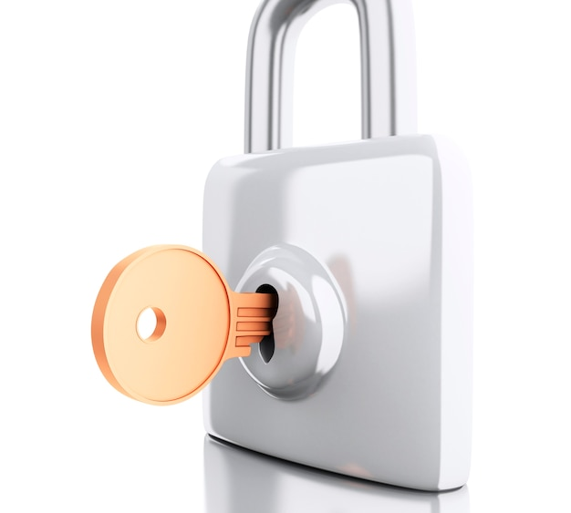3d padlock with key. security concept.