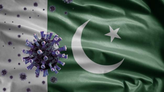 3d、パキスタンの旗を振る、コロナウイルス2019ncovコンセプト。パキスタンでのアジアでの発生、コロナウイルスはパンデミックと同様に危険なインフルエンザ株の症例としてインフルエンザに感染します。顕微鏡ウイルスcovid19
