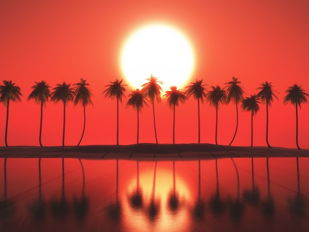 3d palm tree landscape against a sunset sky