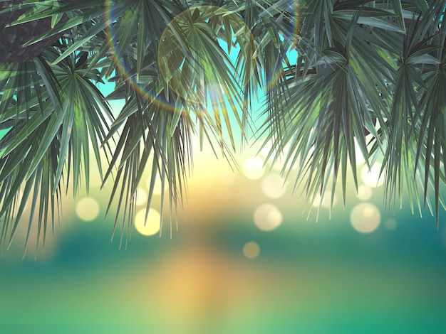 3d palm tree leaves on defocussed background