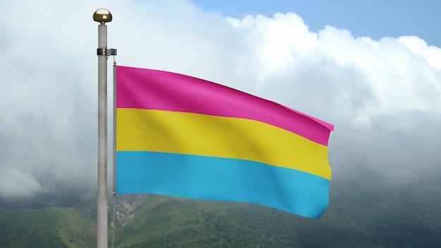 3d флаг пансексуальности развевается на ветру на горе. закройте вверх pansexual знамя дует, мягкий и гладкий шелк. предпосылка прапорщика текстуры ткани ткани. используйте его для гордости гей-дня и концепции мероприятий.
