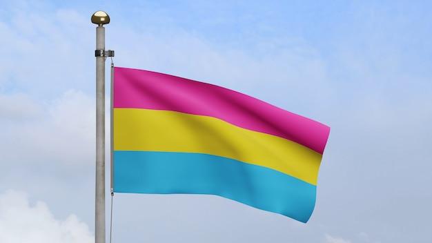 3d флаг пансексуальности развевается на ветру с облаками голубого неба. закройте вверх pansexual знамя дует, мягкий и гладкий шелк. предпосылка прапорщика текстуры ткани ткани. используйте его для гордости гей-дня и концепции мероприятий.