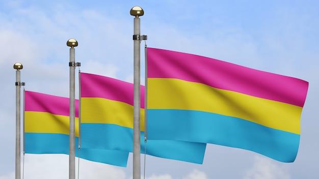 3d флаг пансексуальности развевается на ветру с облаками голубого неба. пансексуальный развевающийся баннер, мягкий и гладкий шелк. предпосылка прапорщика текстуры ткани ткани. используйте его для гордости гей-дня и концепции мероприятий.