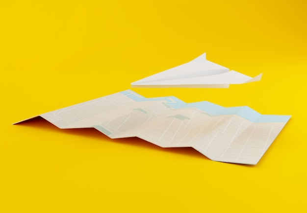3d paper airplane with world map