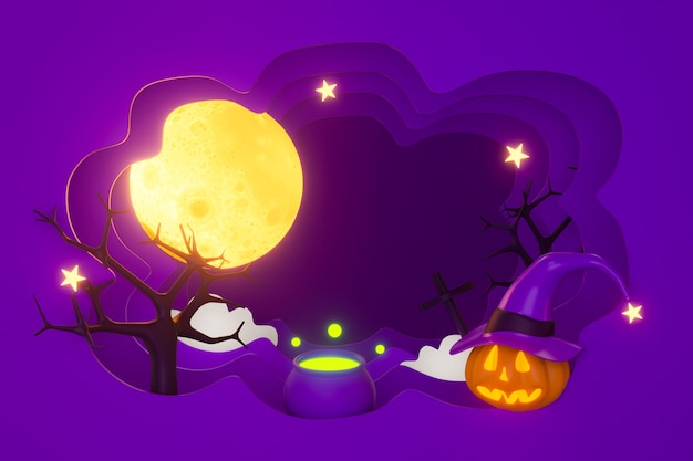 3d paper art halloween pumpkin with moon and witch pot.