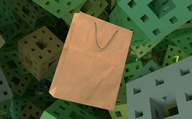3d paper bag for shopping on cubes with holes background