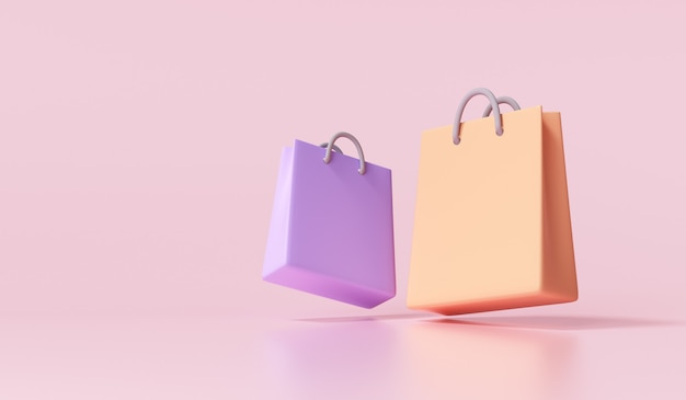 3d paper bags on ping background. online shopping concept. 3d render illustration