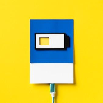 3d paper craft art of a charging battery
