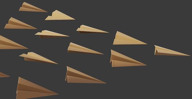 暗い背景を持つ3d紙飛行機オブジェクト