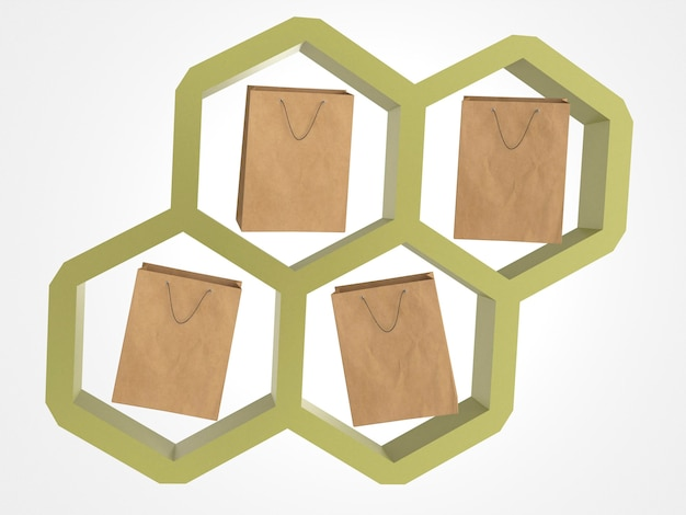 3d paper shopping bags in a honeycomb