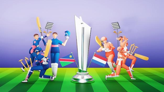 ナミビア対オランダの3d参加クリケットチームの選手と銀メダルを獲得したトロフィーとトーナメント機器のイラスト。