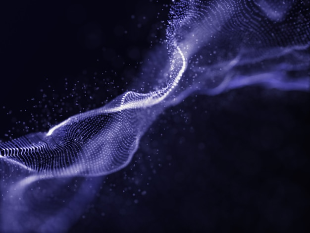 3d particles with flowing cyber dots