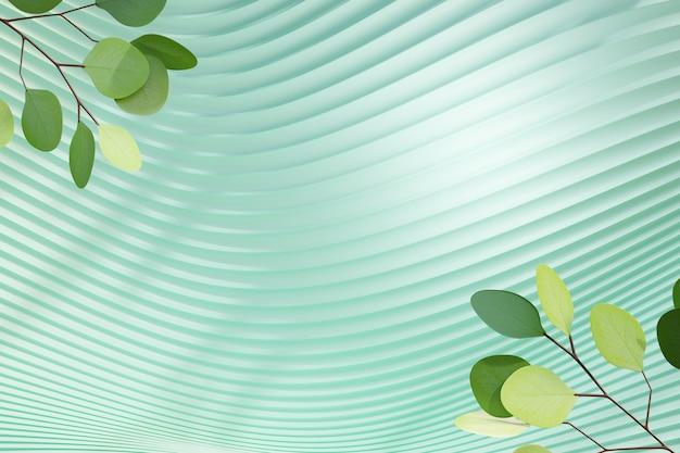 3d пастельная зеленая кривая стена с зеленой предпосылкой оливковых листьев. 3d визуализация иллюстрации.