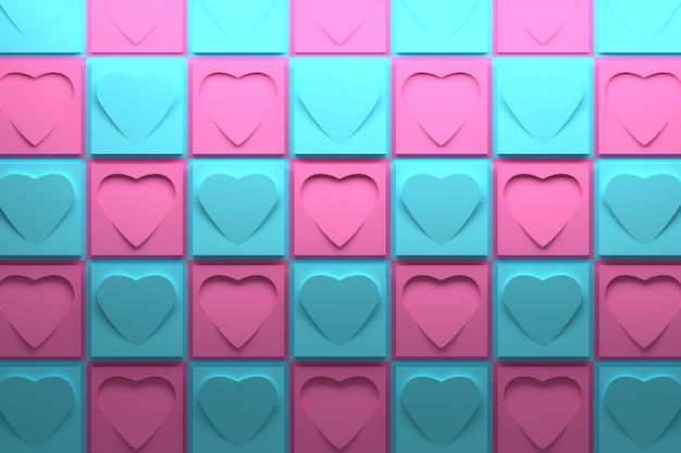 ピンクとブルーの正方形とハートの3 dパターン