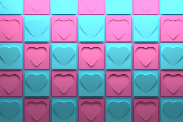 3d pattern with pink and blue squares and hearts