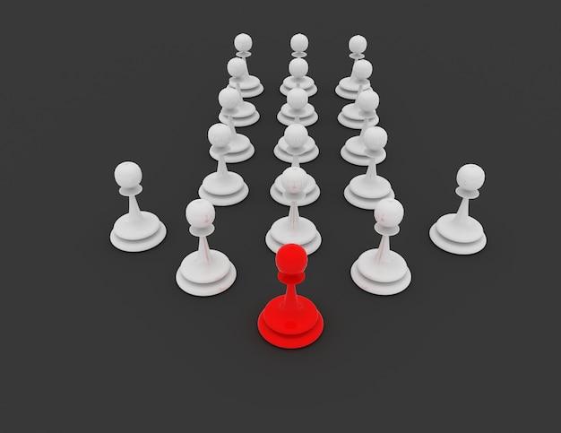 3d 전당포 지도자 개념입니다. 체스 개념입니다. 3d 렌더링 된 그림