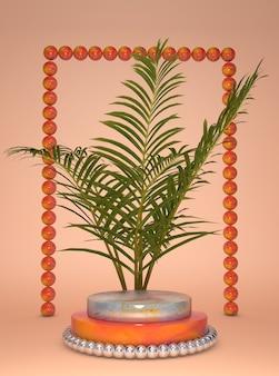 3d 받침대, 종려 나무 잎으로 표시합니다. 회색과 주황색 단계 연단, 여름 이국적인 배경. 자연 추상 유행 열대 스타일. 3d 렌더링