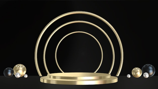 3d pedestals, base, stage. minimal circular and spherical in gold, black and silver colors.