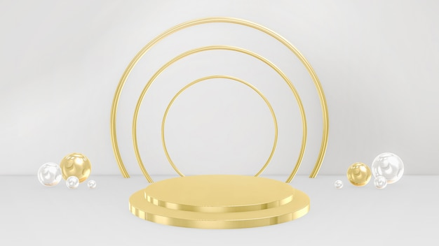 3d pedestals, base, stage. minimal circular and spherical in gold and white colors.