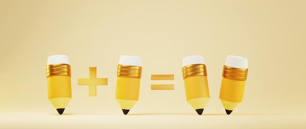 3d of pencils on orange surface