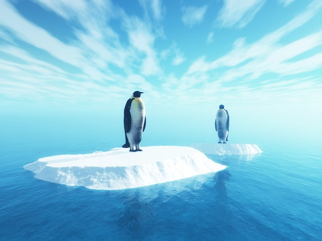 3d penguins on floating ice
