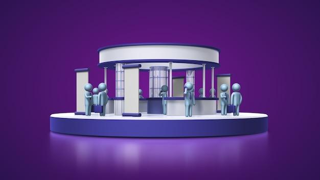 보라색 배경이 있는 이벤트를 위한 3d 사람 및 전시회