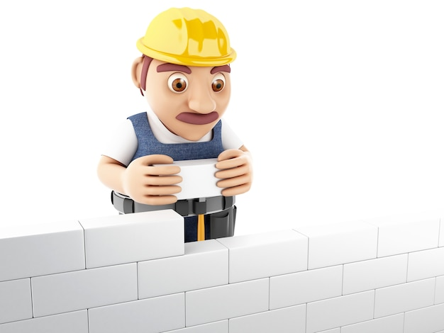3d people building a brick wall.