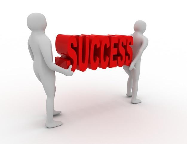 3d 사람들은 단어 성공을 수행합니다.