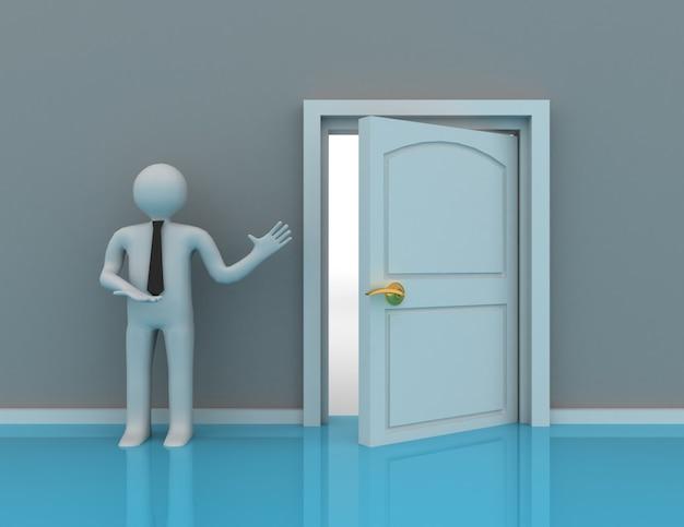 3d люди - мужчина, человек и открытая дверь