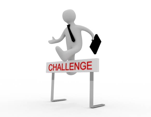 3dの人々-男、挑戦と題されたハードルの障害物を飛び越える人。