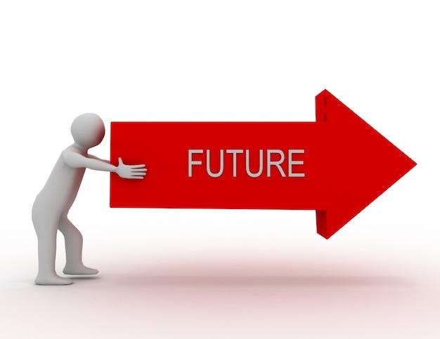 3d 사람 - 사람, 화살표를 추진하는 사람. 미래 개념