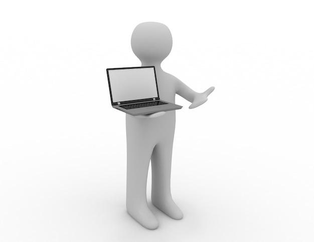 3d 사람 - 사람, 노트북을 가진 사람