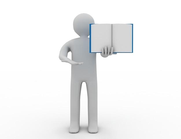 3d 사람 - 사람, 책을 펼친 사람.