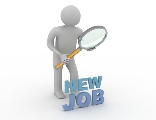 3d 사람 - 남자, 직업을 찾는 돋보기를 가진 사람.