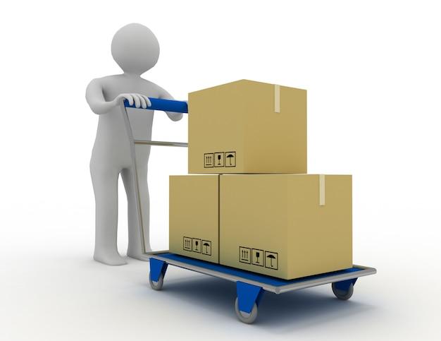3d 사람 - 사람, 쇼핑 카트(손 트럭) 및 화물 상자를 가진 사람. 렌더링 된 그림