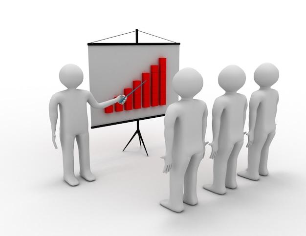 3d люди - мужчины, лицо, представляющее финансовую диаграмму. лидерство и команда.