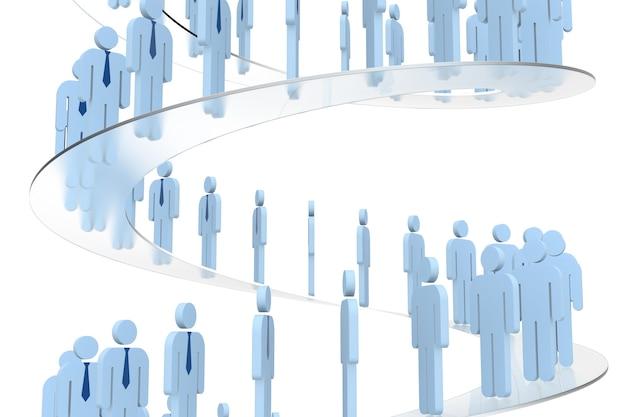성공의 계단을 걷는 3d 사람들. 3d 렌더링. 격리 된 흰색 배경입니다.
