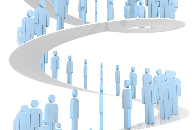 3d people walking on stairs to success. 3d rendering. isolated white background.